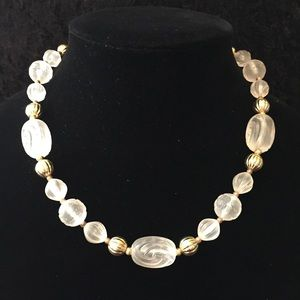 Vintage Frosted Bead Necklace K006